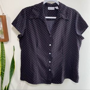 Apparenza black and pink button up blouse large